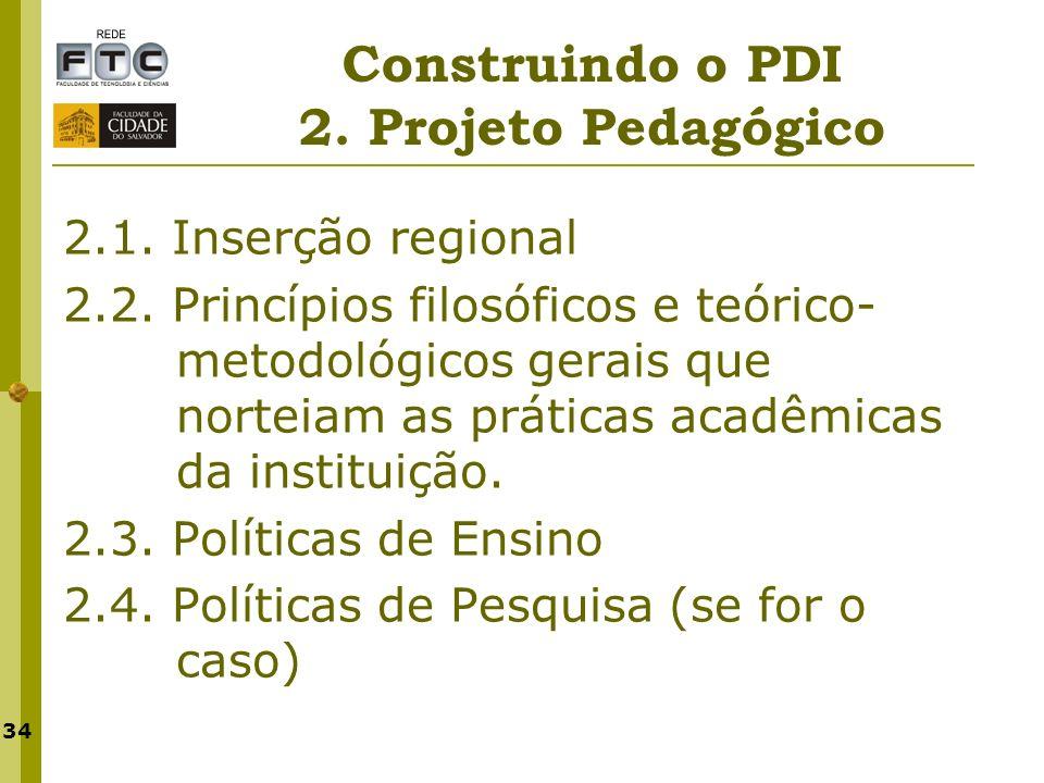 Construindo o PDI 2. Projeto Pedagógico