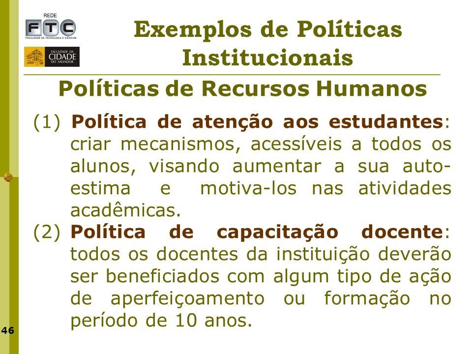 Exemplos de Políticas Institucionais