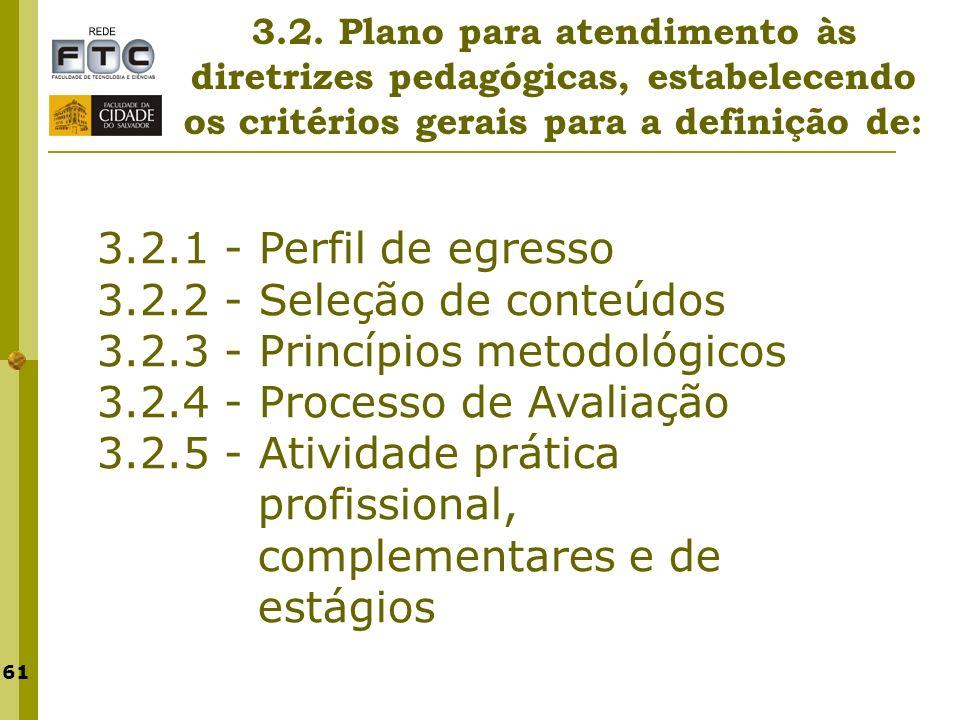 3.2.3 - Princípios metodológicos 3.2.4 - Processo de Avaliação
