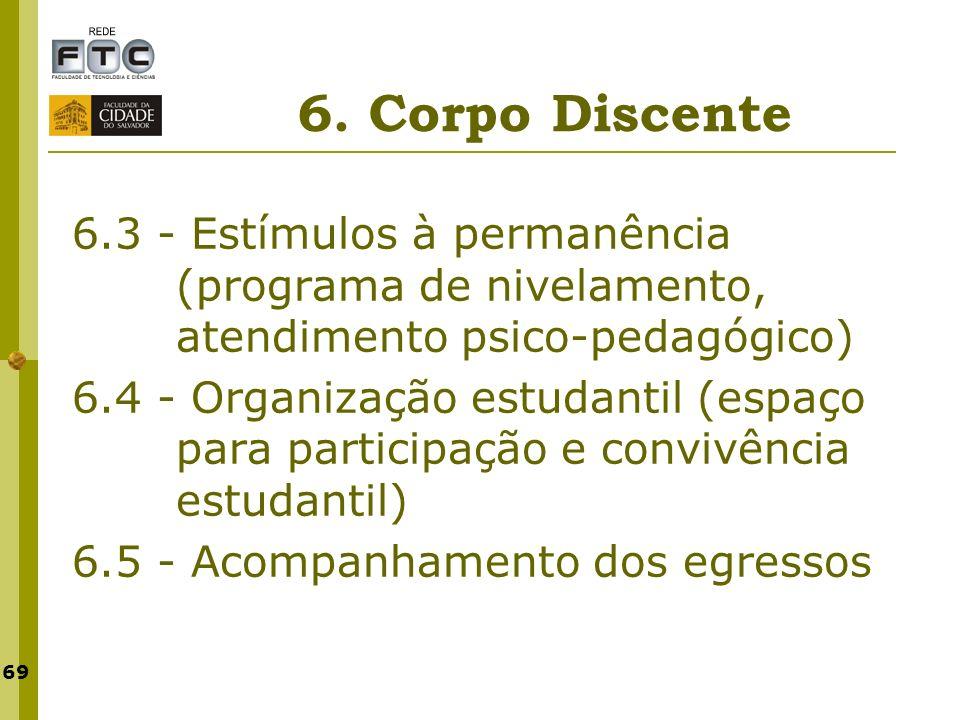 6. Corpo Discente 6.3 - Estímulos à permanência (programa de nivelamento, atendimento psico-pedagógico)