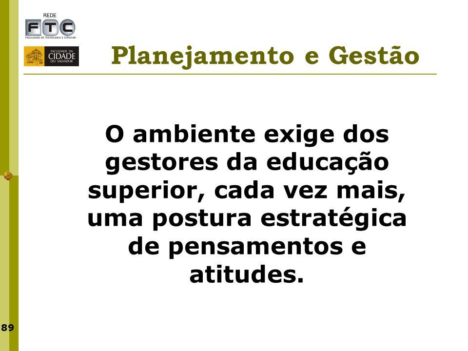 Planejamento e Gestão O ambiente exige dos gestores da educação superior, cada vez mais, uma postura estratégica de pensamentos e atitudes.