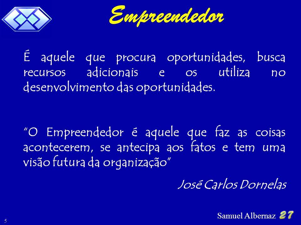 Empreendedor É aquele que procura oportunidades, busca recursos adicionais e os utiliza no desenvolvimento das oportunidades.