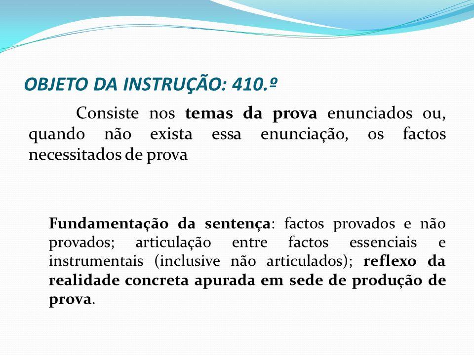 OBJETO DA INSTRUÇÃO: 410.º Consiste nos temas da prova enunciados ou, quando não exista essa enunciação, os factos necessitados de prova.