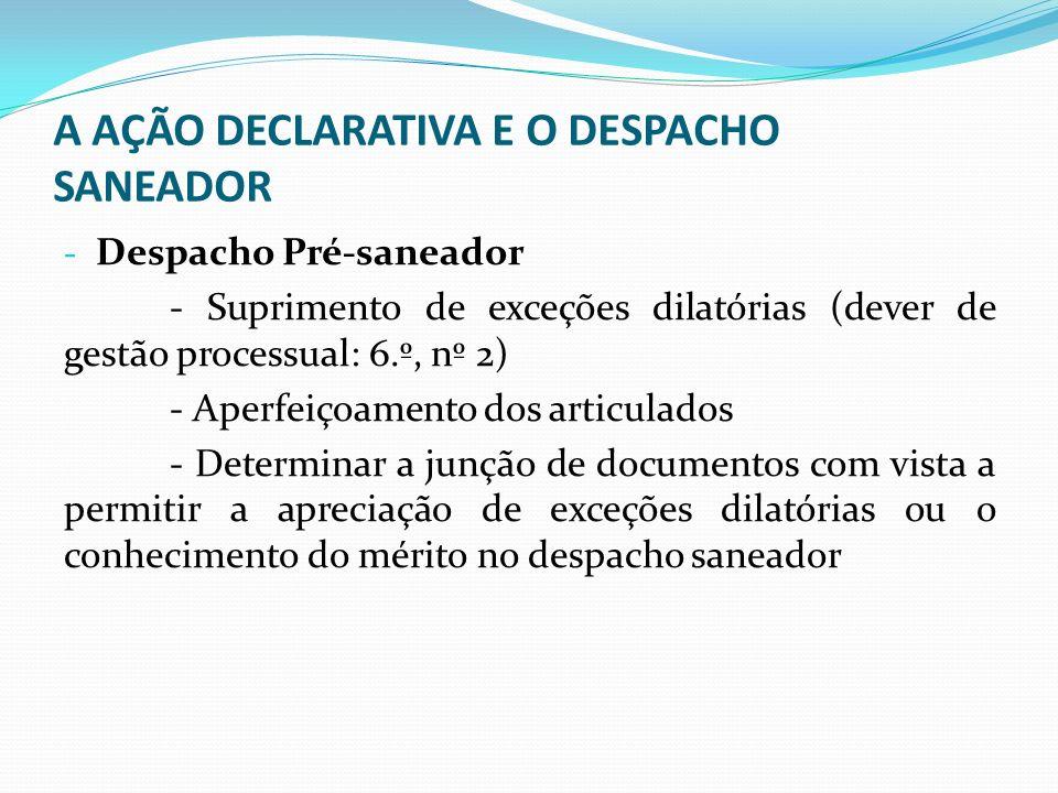 A AÇÃO DECLARATIVA E O DESPACHO SANEADOR