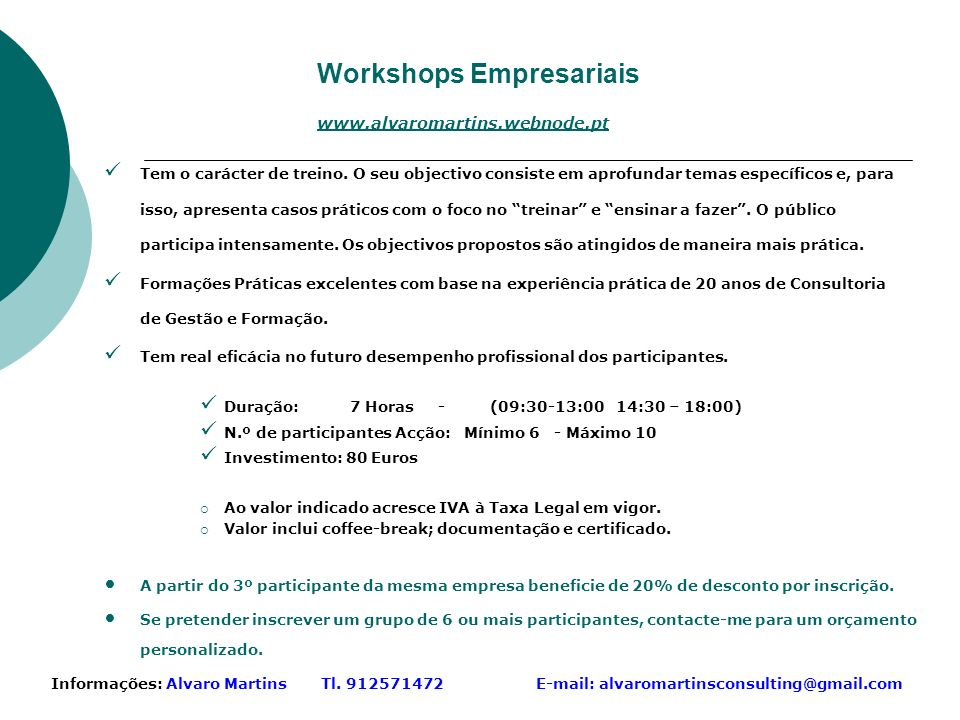 Workshops Empresariais