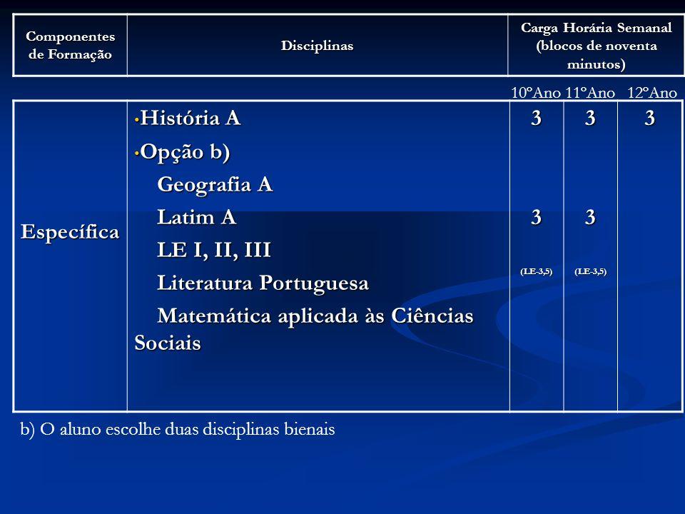 Literatura Portuguesa Matemática aplicada às Ciências Sociais 3