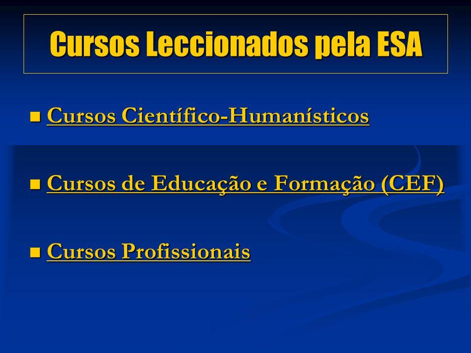 Cursos Leccionados pela ESA