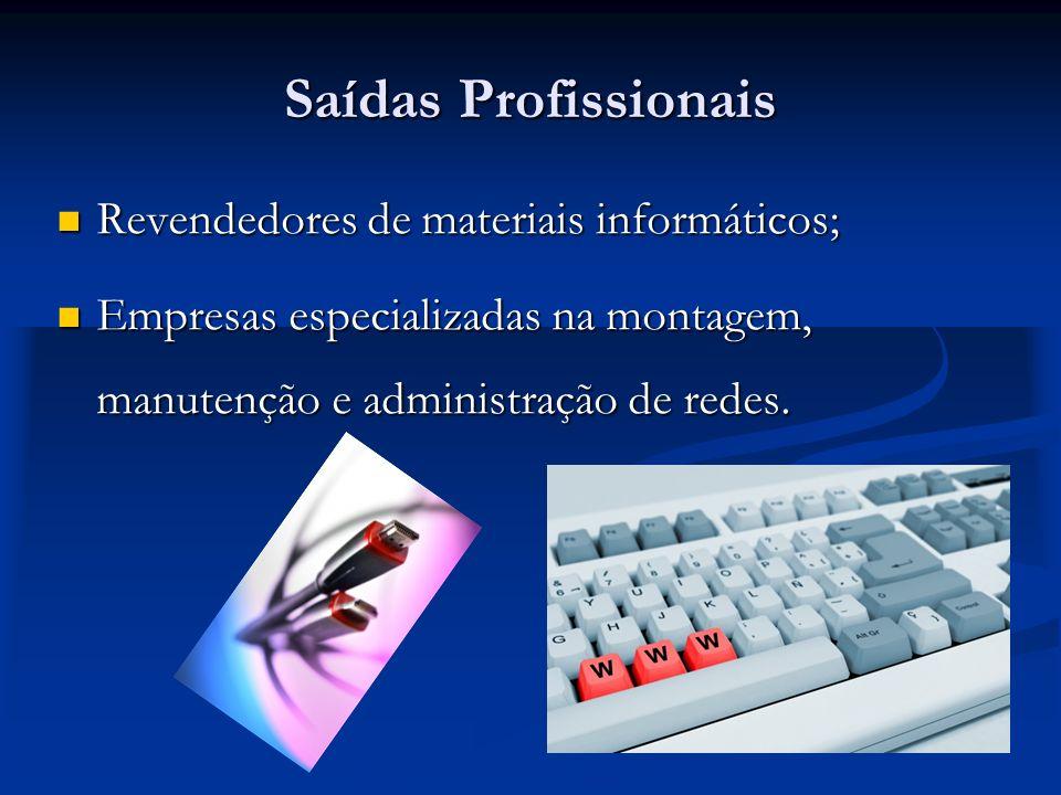 Saídas Profissionais Revendedores de materiais informáticos;