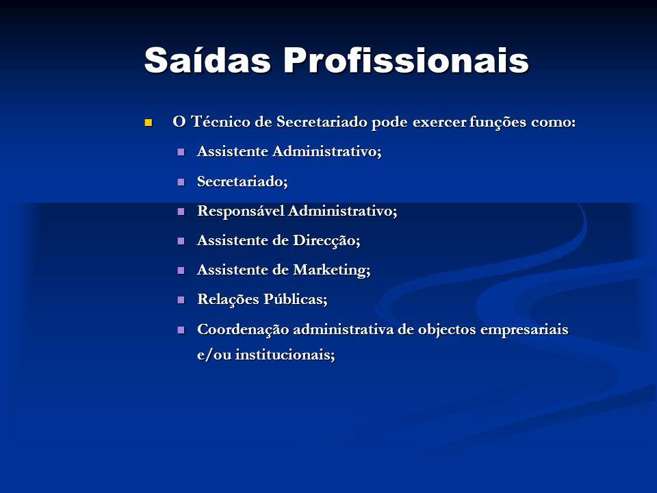 Saídas Profissionais O Técnico de Secretariado pode exercer funções como: Assistente Administrativo;