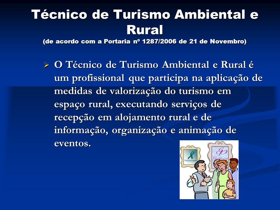 Técnico de Turismo Ambiental e Rural (de acordo com a Portaria nº 1287/2006 de 21 de Novembro)
