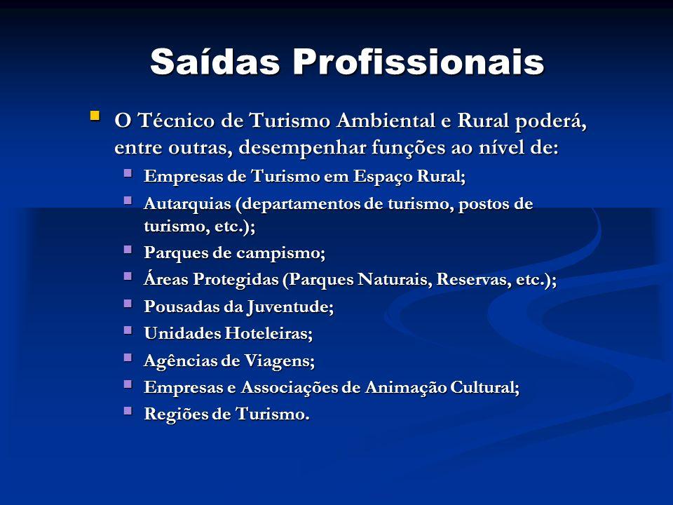 Saídas Profissionais O Técnico de Turismo Ambiental e Rural poderá, entre outras, desempenhar funções ao nível de: