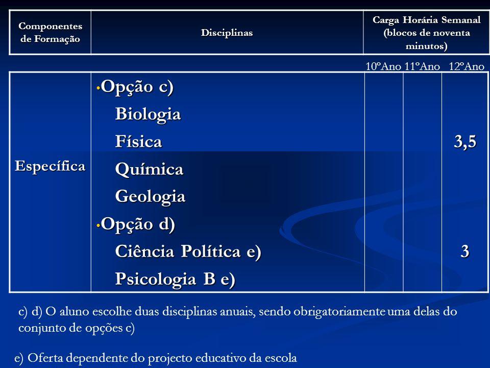 Opção c) Biologia Física Química Geologia Opção d) Ciência Política e)