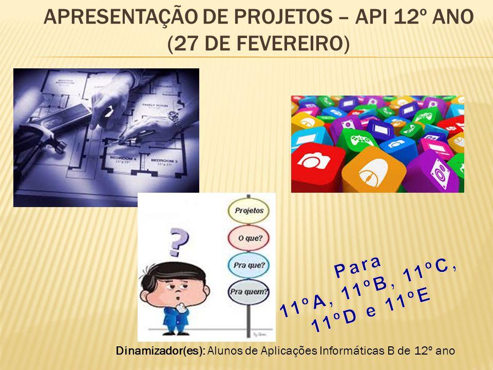 Apresentação de projetos – API 12º ano (27 de fevereiro)