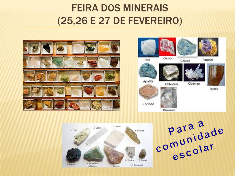 Feira dos minerais (25,26 e 27 de fevereiro)