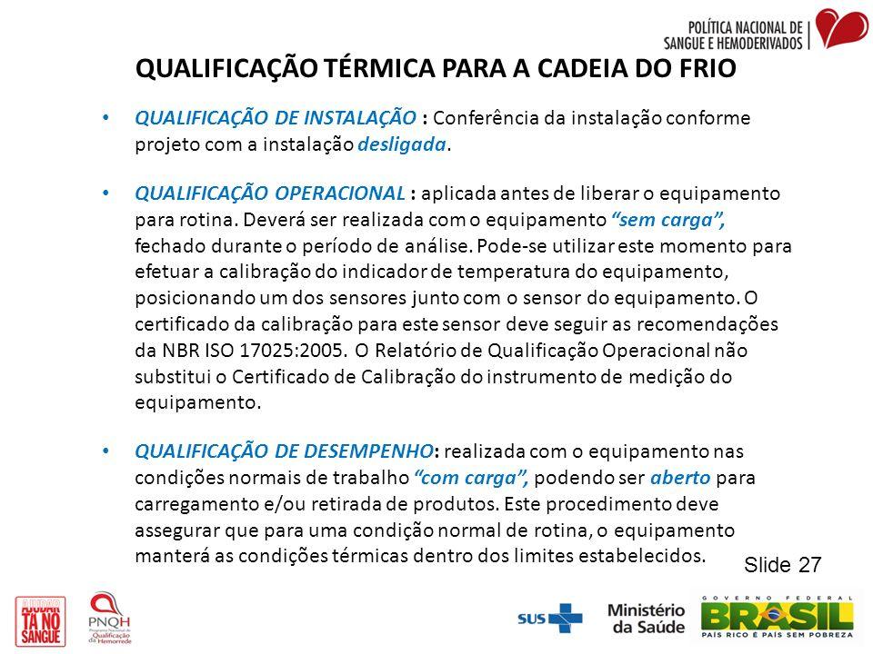 QUALIFICAÇÃO TÉRMICA PARA A CADEIA DO FRIO