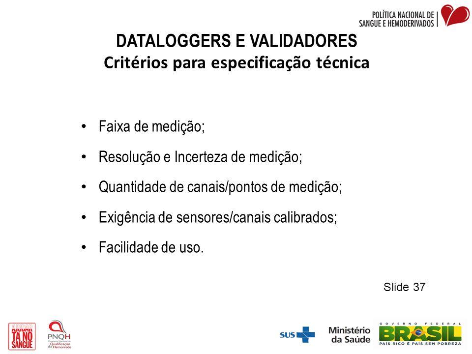 DATALOGGERS E VALIDADORES Critérios para especificação técnica