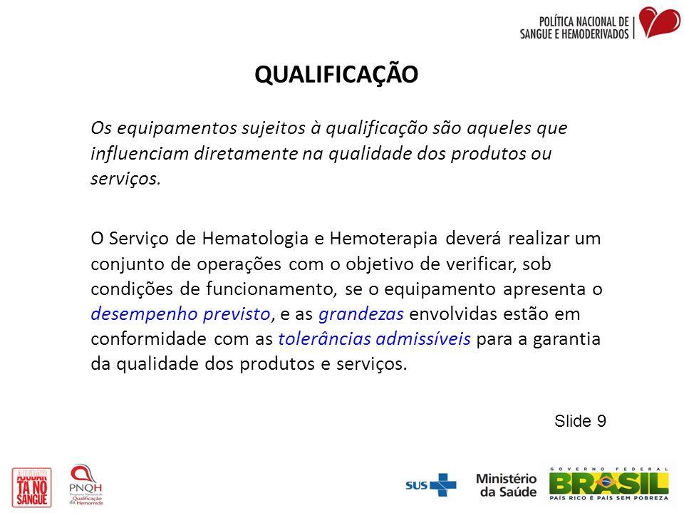 QUALIFICAÇÃO Os equipamentos sujeitos à qualificação são aqueles que influenciam diretamente na qualidade dos produtos ou serviços.