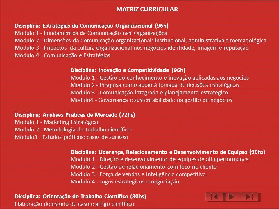 MATRIZ CURRICULAR Disciplina: Estratégias da Comunicação Organizacional (96h) Modulo 1 - Fundamentos da Comunicação nas Organizações.