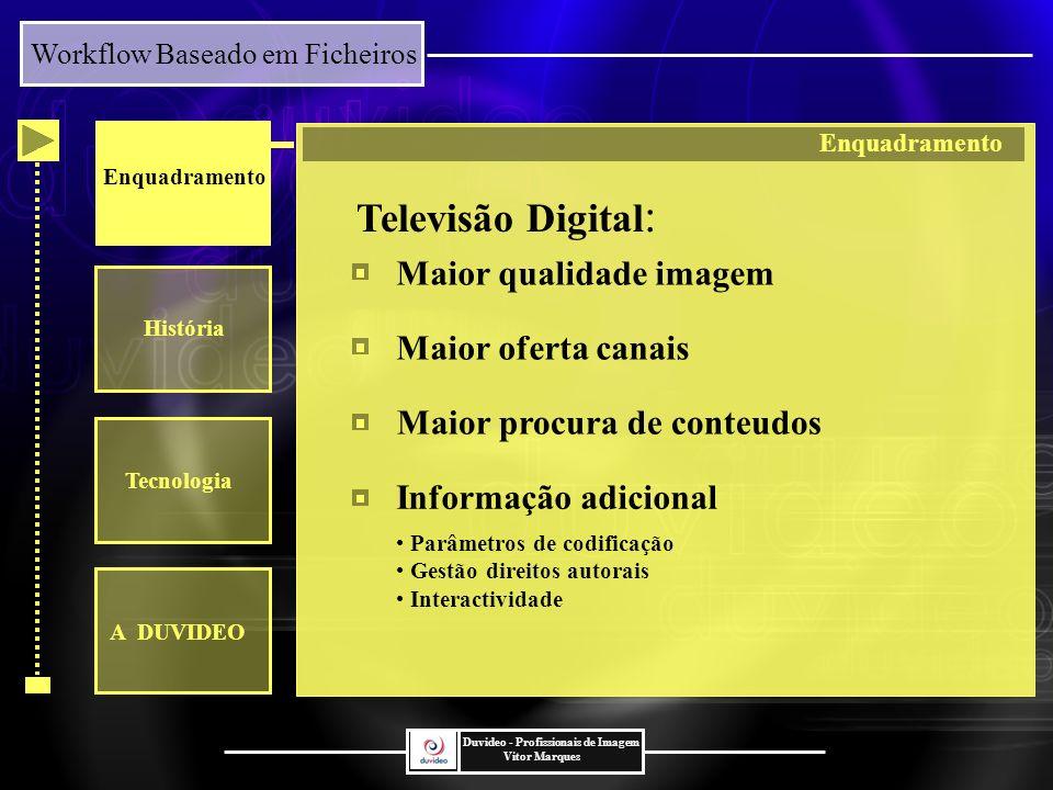 Televisão Digital: Maior qualidade imagem Maior oferta canais