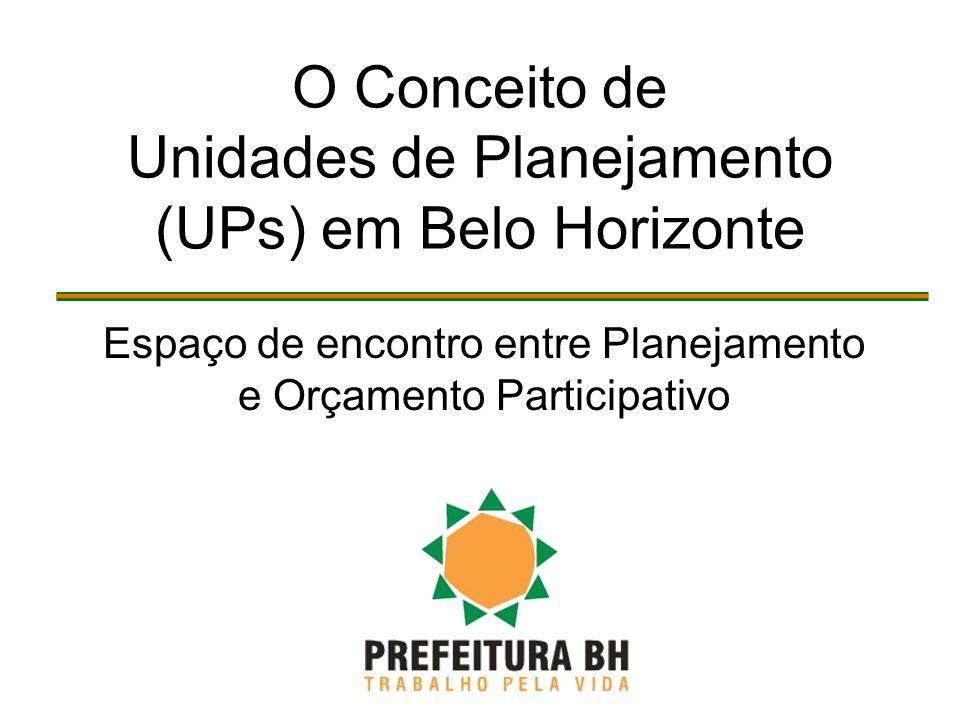 O Conceito de Unidades de Planejamento (UPs) em Belo Horizonte