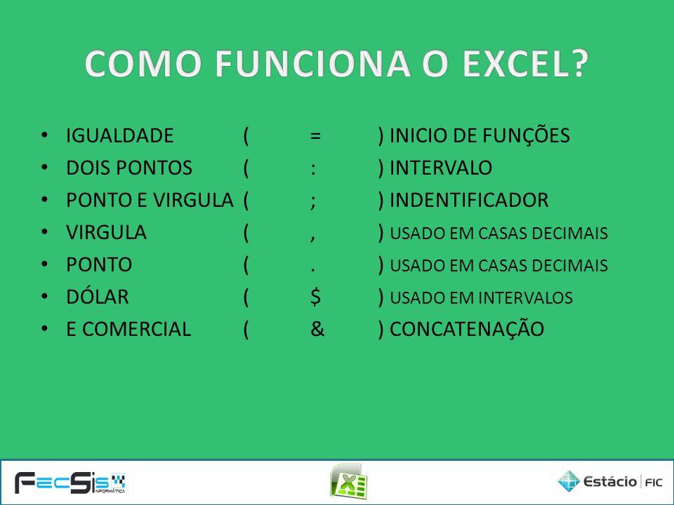COMO FUNCIONA O EXCEL IGUALDADE ( = ) INICIO DE FUNÇÕES