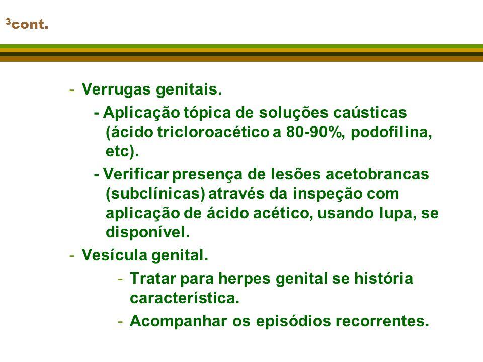 Tratar para herpes genital se história característica.