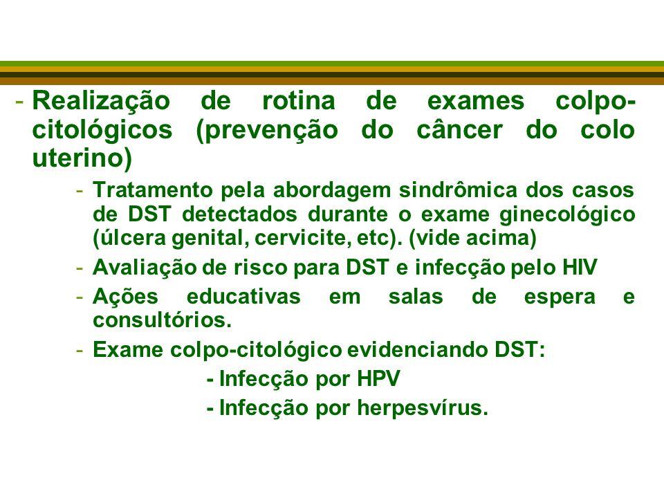 Realização de rotina de exames colpo-citológicos (prevenção do câncer do colo uterino)