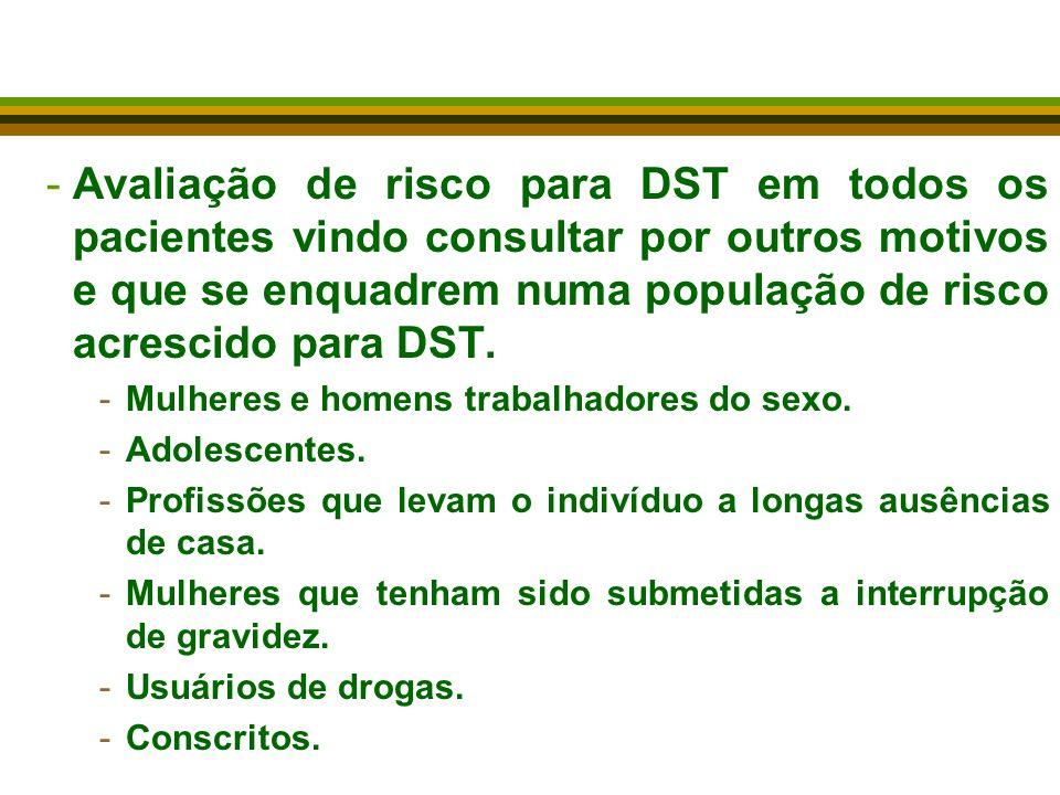 Avaliação de risco para DST em todos os pacientes vindo consultar por outros motivos e que se enquadrem numa população de risco acrescido para DST.