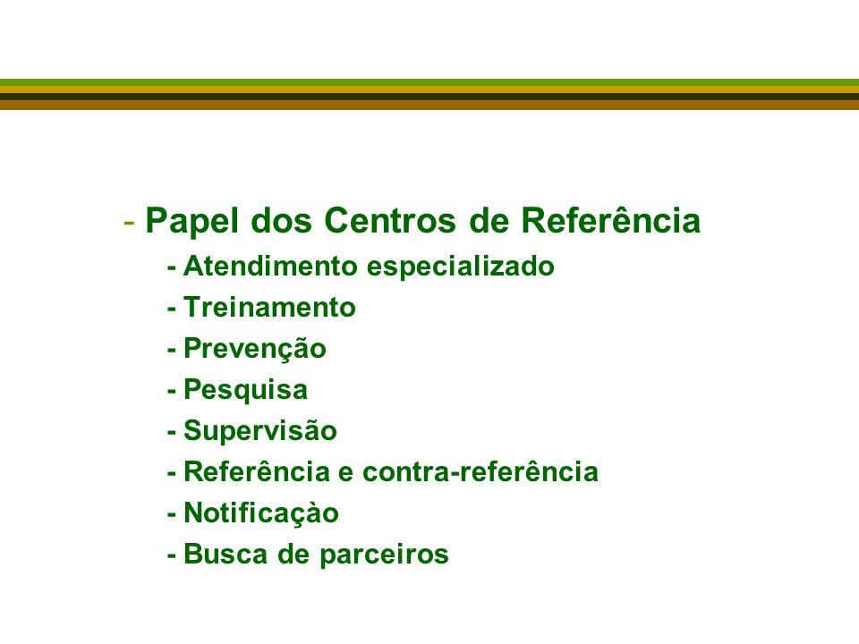 Papel dos Centros de Referência