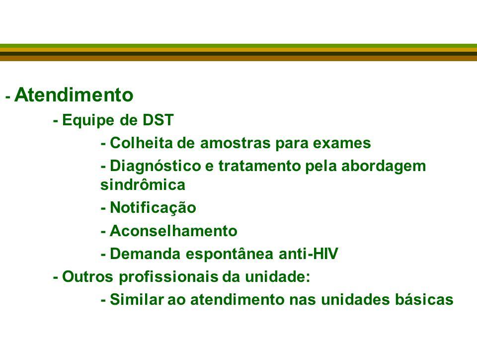 - Atendimento - Equipe de DST. - Colheita de amostras para exames. - Diagnóstico e tratamento pela abordagem sindrômica.