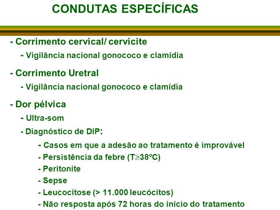 CONDUTAS ESPECÍFICAS - Corrimento cervical/ cervicite