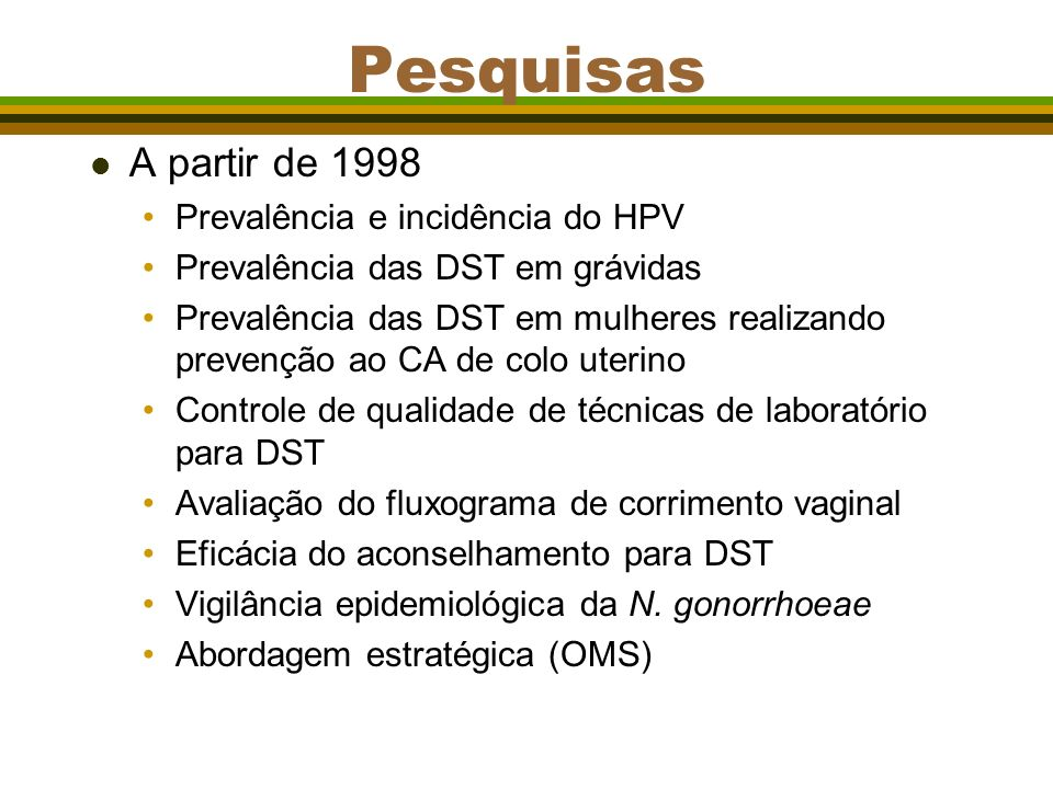 Pesquisas A partir de 1998 Prevalência e incidência do HPV