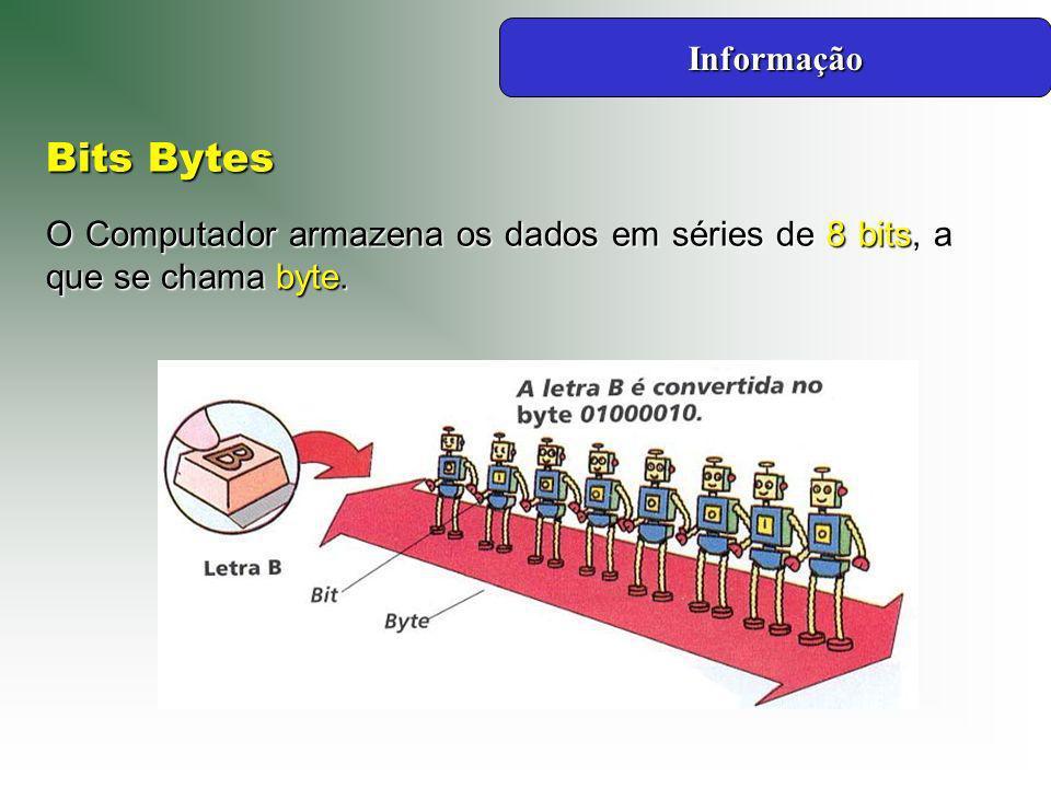 Informação Bits Bytes O Computador armazena os dados em séries de 8 bits, a que se chama byte.