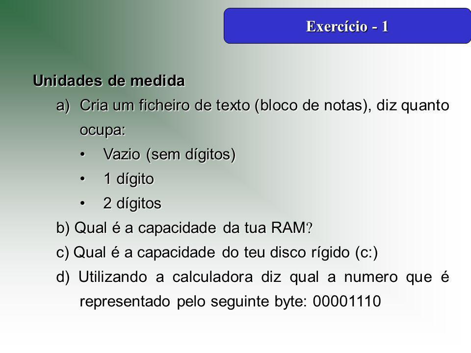 Exercício - 1 Unidades de medida. Cria um ficheiro de texto (bloco de notas), diz quanto ocupa: Vazio (sem dígitos)