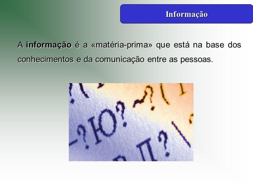 Informação A informação é a «matéria-prima» que está na base dos conhecimentos e da comunicação entre as pessoas.