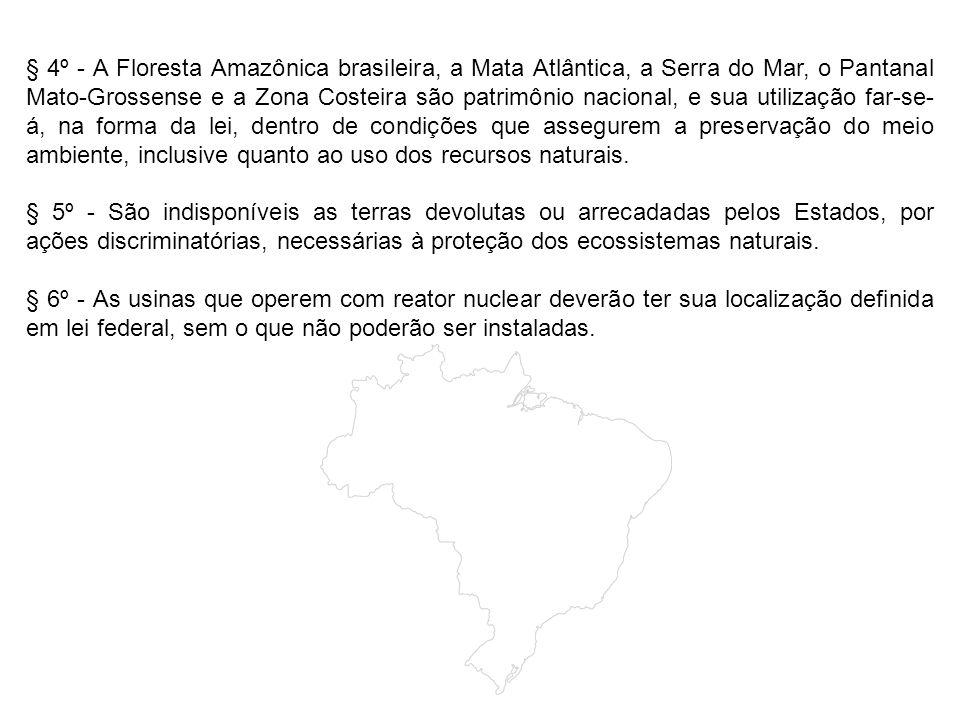 § 4º - A Floresta Amazônica brasileira, a Mata Atlântica, a Serra do Mar, o Pantanal Mato-Grossense e a Zona Costeira são patrimônio nacional, e sua utilização far-se-á, na forma da lei, dentro de condições que assegurem a preservação do meio ambiente, inclusive quanto ao uso dos recursos naturais.