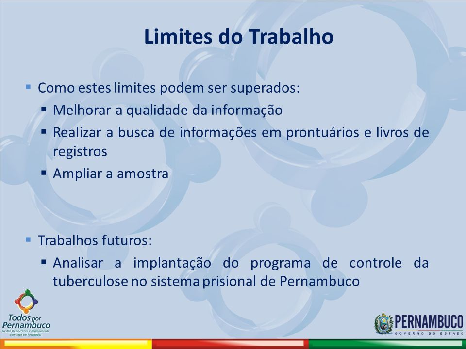 Limites do Trabalho Como estes limites podem ser superados: