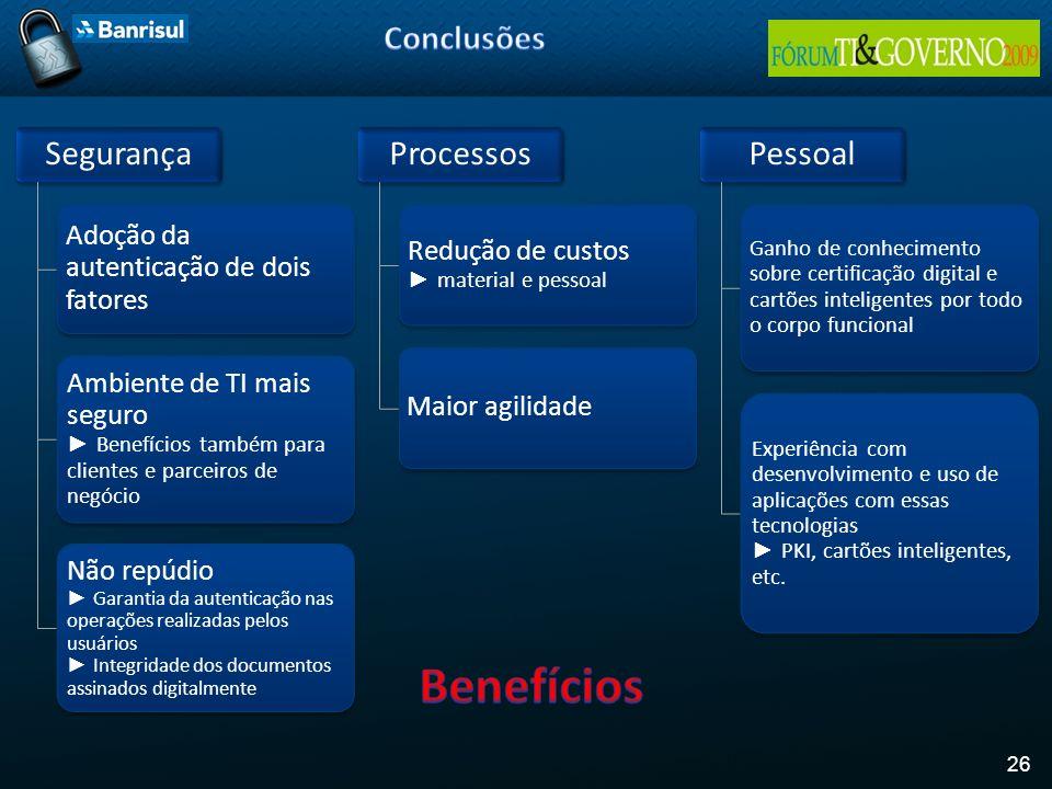 Benefícios Conclusões Segurança Processos Pessoal