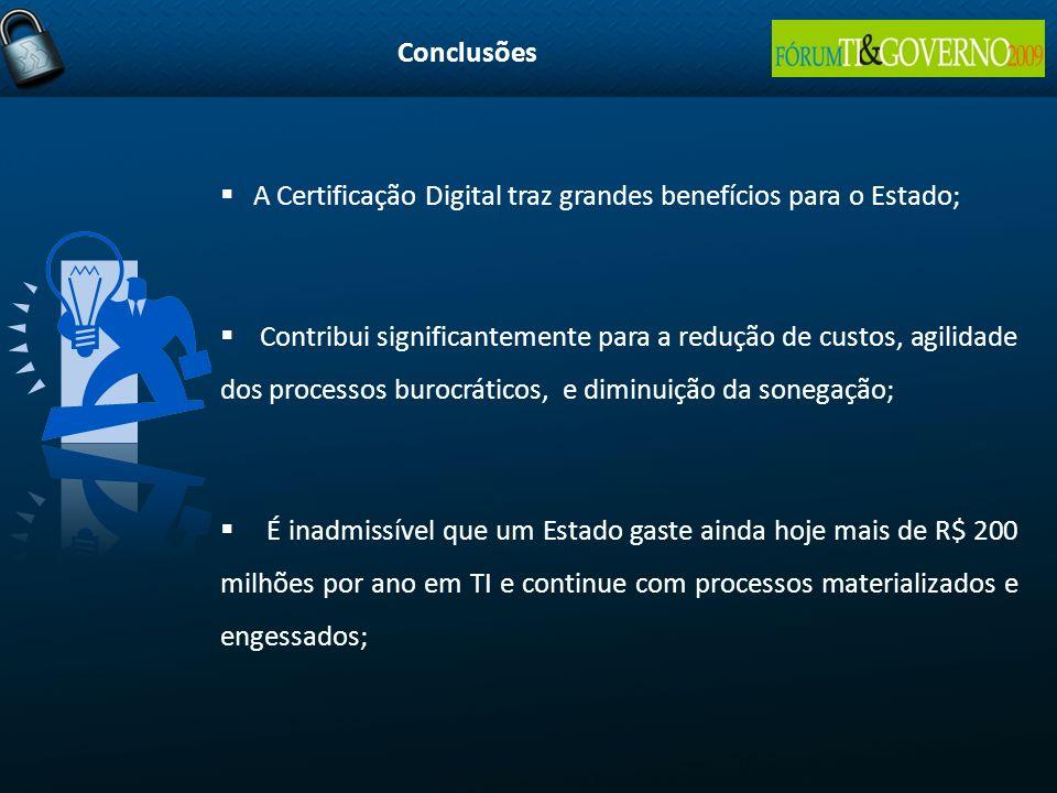 Conclusões A Certificação Digital traz grandes benefícios para o Estado;