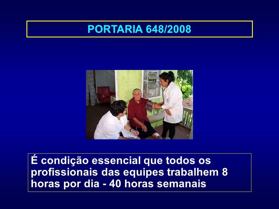 PORTARIA 648/2008 É condição essencial que todos os profissionais das equipes trabalhem 8 horas por dia - 40 horas semanais.