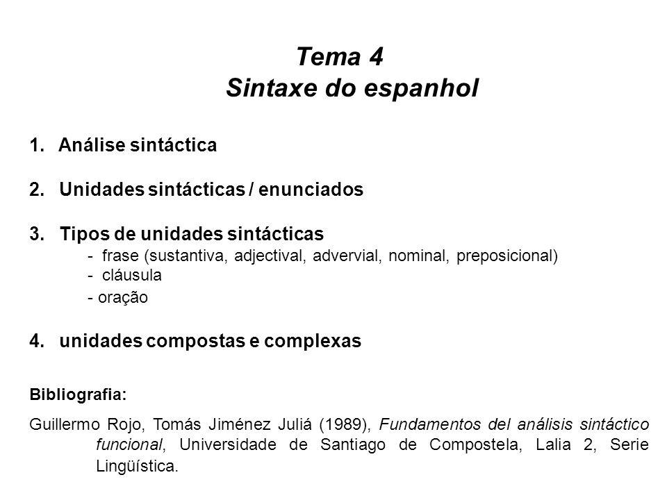 Tema 4 Sintaxe do espanhol