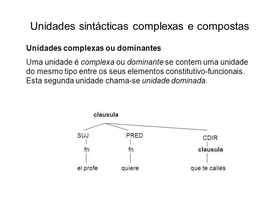 Unidades sintácticas complexas e compostas