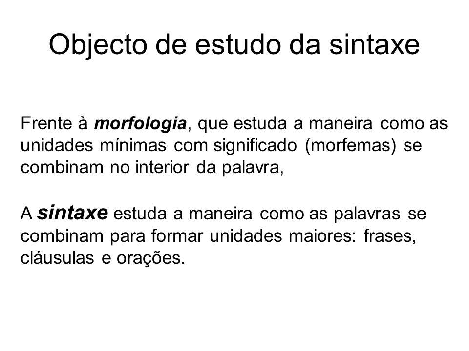 Objecto de estudo da sintaxe