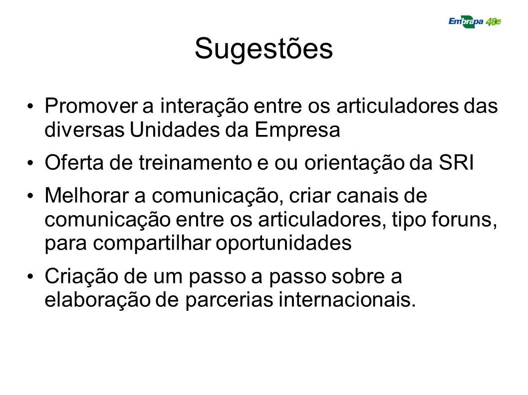 Sugestões Promover a interação entre os articuladores das diversas Unidades da Empresa. Oferta de treinamento e ou orientação da SRI.