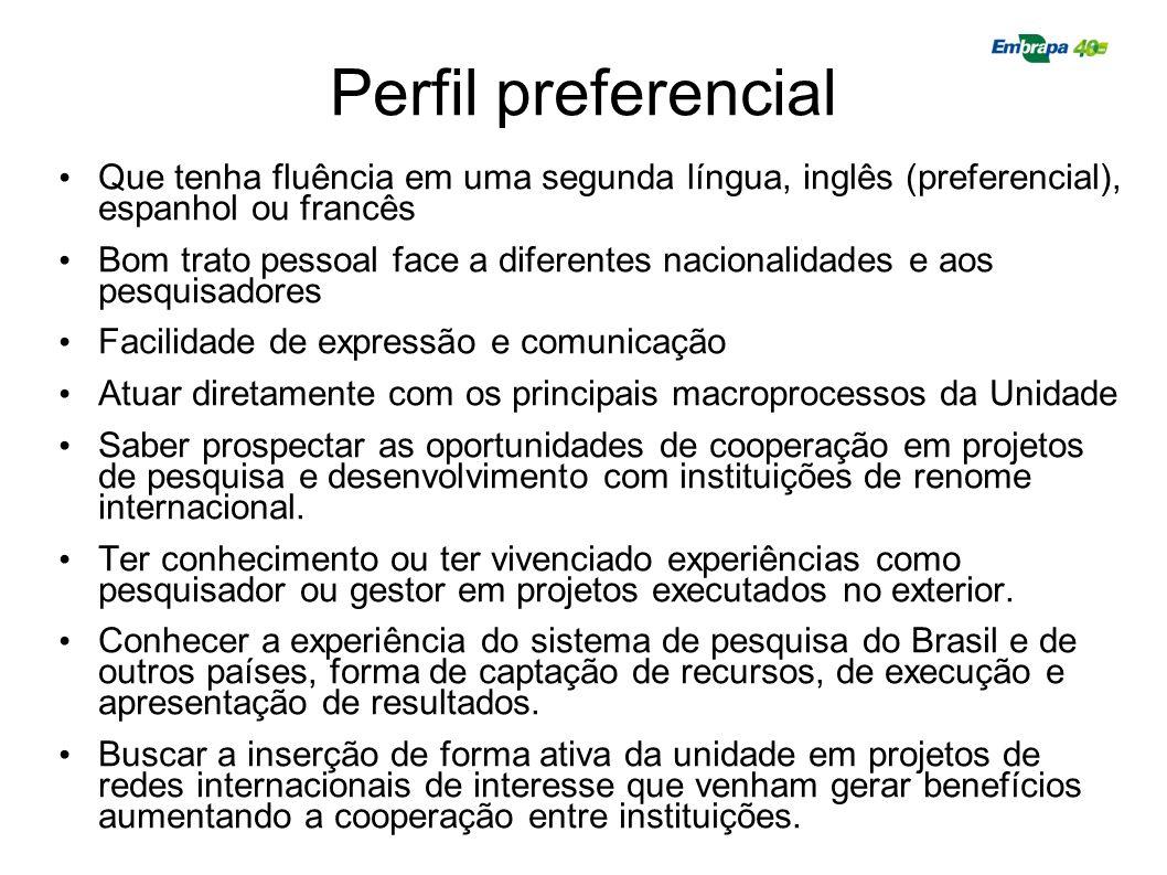 Perfil preferencial Que tenha fluência em uma segunda língua, inglês (preferencial), espanhol ou francês.