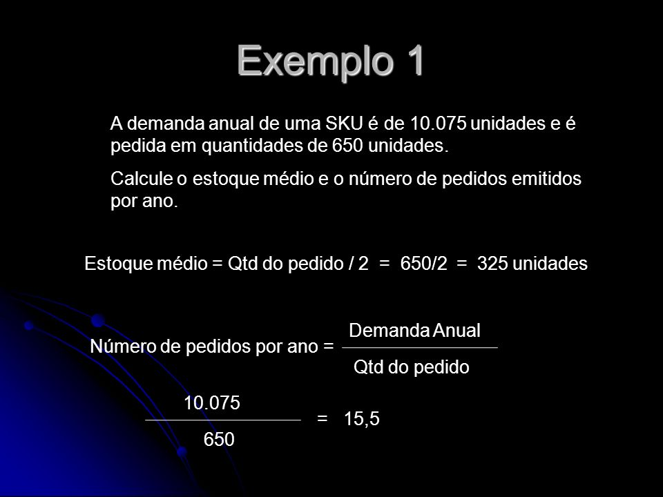 Exemplo 1 A demanda anual de uma SKU é de 10.075 unidades e é pedida em quantidades de 650 unidades.