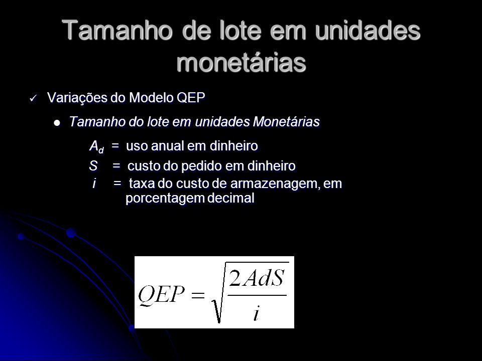 Tamanho de lote em unidades monetárias