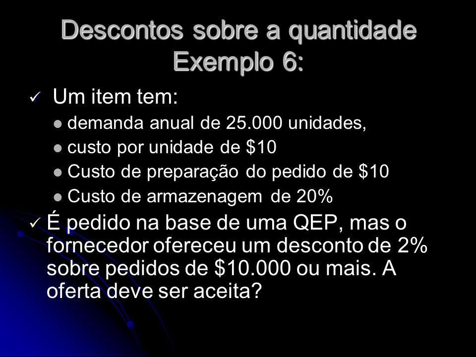 Descontos sobre a quantidade Exemplo 6: