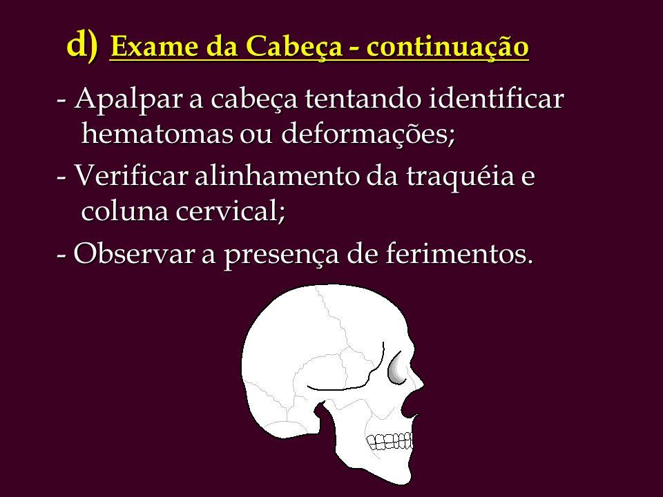 d) Exame da Cabeça - continuação