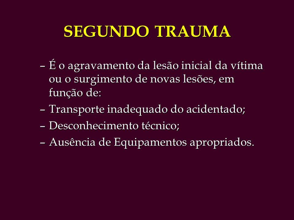 SEGUNDO TRAUMA É o agravamento da lesão inicial da vítima ou o surgimento de novas lesões, em função de: